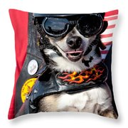 Motorcycle Chihuahua Throw Pillow