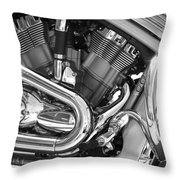 Motorcycle Close-up Bw 1 Throw Pillow