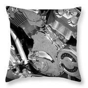 Motorcycle Close-up Bw 2 Throw Pillow