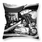 Motorcycle Close-up Bw 3 Throw Pillow