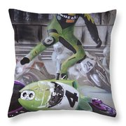 Kawasaki Motorcycle Crash Throw Pillow