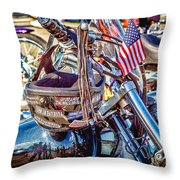 Motorcycle Helmet And Flag Throw Pillow