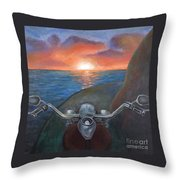 Motorcycle Sunset Throw Pillow