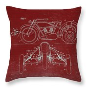 Motorcycle Support Patent Drawing From 1932 3 Throw Pillow