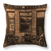 Motorcycles And Furnished Rooms Throw Pillow