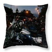 Motorcycles At Americade Lined Up Throw Pillow