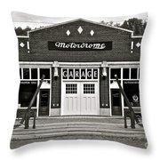 Motordrome Garage Throw Pillow