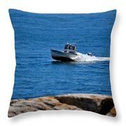 Motoring On Casco Bay Throw Pillow