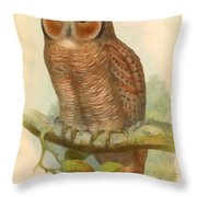 Mottled Wood Owl Throw Pillow