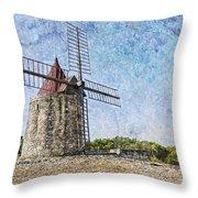Moulin De Daudet Fontvieille France On A Texture Dsc01833 Throw Pillow