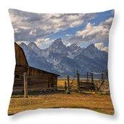 Moulton Barn Panorama - Grand Teton National Park Wyoming Throw Pillow