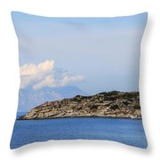Mount Athos In Clouds View From Sithonia Greece Throw Pillow