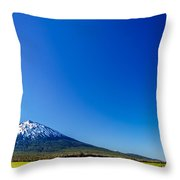 Mount Bachelor And Blue Sky Throw Pillow