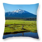 Mount Bachelor And Meadow Throw Pillow