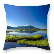 Mount Bachelor And Sparks Lake Throw Pillow