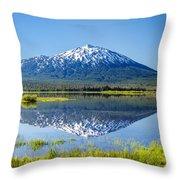 Mount Bachelor Reflection Throw Pillow