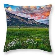 Mount Crested Butte Summer Sunset Throw Pillow
