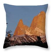 Mount Fitz Roy At Sunrise Throw Pillow