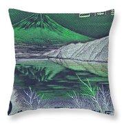 Mount Fuji In Green Throw Pillow