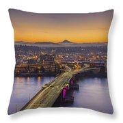 Mount Hood And Morrison Bridge Throw Pillow