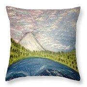 Mount Hood Night Sky Throw Pillow