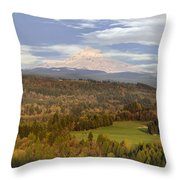 Mount Hood Over Sandy River Valley Throw Pillow