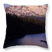 Mount Hood With Kids In Row Boat Silhouetted Throw Pillow