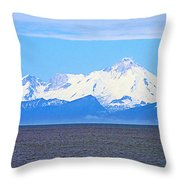Mount Iliamna Across Cook Inlet From Ninilchik-alaska Throw Pillow