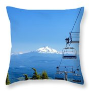 Mount Jefferson And Chairlifts Throw Pillow