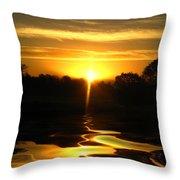 Mount Lassen Sunrise Gold Throw Pillow