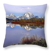Mount Moran And Jackson Lake Throw Pillow