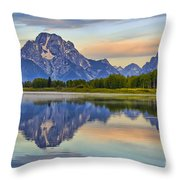 Mount Moran At Sunrise Throw Pillow