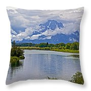 Mount Moran From Oxbow Bend N Grand Teton National Park-wyoming Throw Pillow