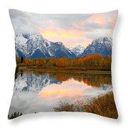 Mount Moran Reflection Sunset Throw Pillow