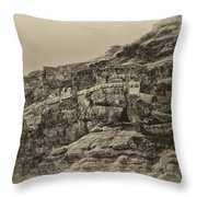Mount Of The Temptation Monestary Jericho Israel Antiqued Throw Pillow