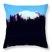 Mount Rainer At Tipsoe Lake In The Sunrise Throw Pillow