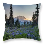 Mount Rainer Flower Fields Throw Pillow