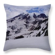 Mount Rainer In The Clouds Throw Pillow