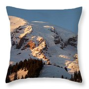 Mount Rainier Alpenglow Throw Pillow