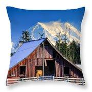 Mount Rainier And Barn Throw Pillow
