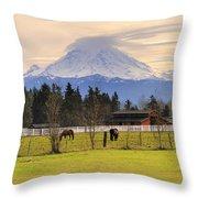 Mount Rainier And Grazing Horses Throw Pillow