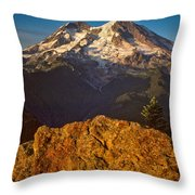 Mount Rainier At Sunset With Big Boulders In Foreground Throw Pillow
