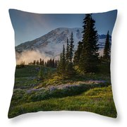 Mount Rainier Evening Fog Throw Pillow