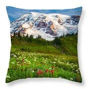 Mount Rainier Flower Meadow Throw Pillow