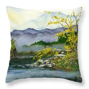 Mount Rainier From Carbon River Throw Pillow