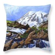 Mount Rainier From Edith Creek Throw Pillow