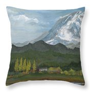 Mount Rainier From Lake Rap John  Throw Pillow