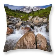 Mount Rainier Glacial Flow Throw Pillow by Adam Romanowicz