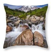 Mount Rainier Glacial Flow Throw Pillow
