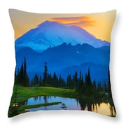 Mount Rainier Goodnight Throw Pillow